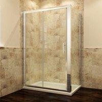 Modern Sliding Shower Cubicle Door Bathroom Shower Enclosure 1000 x 760 mm with Side Panel