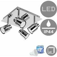 Benton Square Plate Adjustable IP44 Bathroom 4 Way Ceiling Spotlight + GU10 LED Bulbs - Cool White - MINISUN