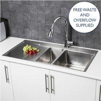 Sauber - Säuber Kitchen Sink 1.5 Bowl LH Drainer Stainless Steel Square Inset Waste