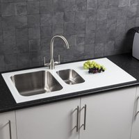 Modern Stainless Steel Kitchen Sink White Glass Surround Drainer - Sauber