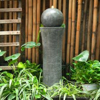 Dark Grey Sphere Electric Fountain Water Feature with LED Light 26x86cm