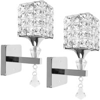 Modern Style Wall Lamp Crystal Wall Light Elegant Creative Crystal Wall Sconce with Power Pull Switch E14 Socket Silver(2 piece)