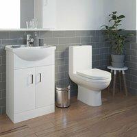 Modern Toilet Sink Basin Cloakroom Ceramic Gloss Vanity Unit Bathroom Suite