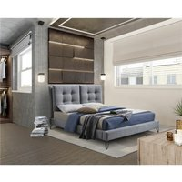 Modern Tuscan Fabric Grey Bed Frame - Double 4ft 6