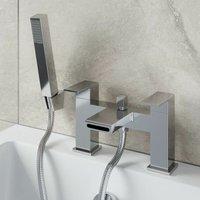 Modern Waterfall Shower Bath Mixer Tap Brass Square Handset Twin Levers Chrome - ARCHITECKT
