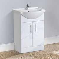 Modern White Freestanding Basin Vanity Unit and Mono Mixer Tap with Waste - NESHOME