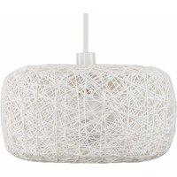White Wicker Rattan Doughnut Ceiling Pendant Light Shade + 10W LED Gls Light Bulb - Warm White - White