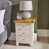 Modern White Solid Wood Bedside Lamp End Side Table 3 Drawers Bedroom Furniture