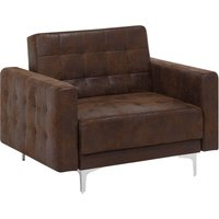 Beliani - Modern Armchair Reclining Day Bed Brown Faux Leather Tufted Aberdeen