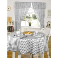 Molly Tablecloth 63 Round Circle Charcoal Kitchen Dining Room Gingham Check Linen