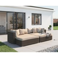 Rattan Direct - Monaco Rattan Garden Day Bed Sofa Set in Premium Truffle Brown and Champagne
