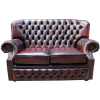 Designer Sofas 4 U - Monks Chesterfield 2 Seater Antique Oxblood Leather Sofa Offer