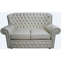 Designer Sofas 4 U - Monks Thomas Chesterfield 2 Seater Cottonseed Cream Leather Sofa Offer