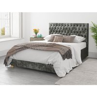 Aspire - Monroe Ottoman Upholstered Bed, Distressed Velvet, Slate - Ottoman Bed Size Single (90x190)