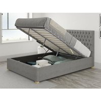Aspire - Monroe Ottoman Upholstered Bed, Eire Linen, Grey - Ottoman Bed Size Superking (180x200)