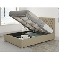 Monroe Ottoman Upholstered Bed, Eire Linen, Natural - Ottoman Bed Size Single (90x190) - ASPIRE