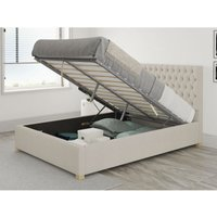 Aspire - Monroe Ottoman Upholstered Bed, Eire Linen, Off White - Ottoman Bed Size Double (135x190)