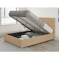Monroe Ottoman Upholstered Bed, Firenza Velour, Champagne - Ottoman Bed Size Single (90x190)