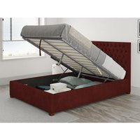 Aspire - Monroe Ottoman Upholstered Bed, Kimiyo Linen, Bordeaux - Ottoman Bed Size King (150x200)