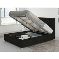 Aspire - Monroe Ottoman Upholstered Bed, Kimiyo Linen, Charcoal - Ottoman Bed Size Superking (180x200)