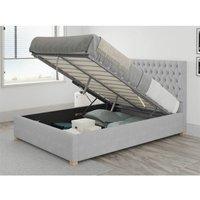 Aspire - Monroe Ottoman Upholstered Bed, Kimiyo Linen, Silver - Ottoman Bed Size Superking (180x200)
