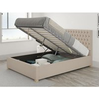 Monroe Ottoman Upholstered Bed, Saxon Twill, Natural - Ottoman Bed Size Single (to fit mattress size 90x190)