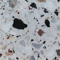 Netfurniture - Monsoon Round kitchen dining table Granite, Terrazzo, Marble or Quartz tops - cast iron base Grigio Venato - Terrazzo 70cm diameter top