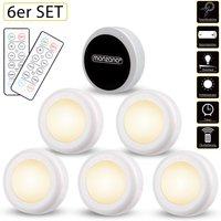 6pcs Set LED Wardrobe Light Remote Timer Night Lights Multicoloured White White - Monzana