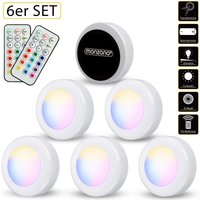 6pcs Set LED Wardrobe Light Remote Timer Night Lights Multicoloured White Coloured - Monzana