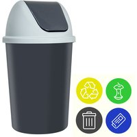 Trash Can With Lid Incl. 4 Waste Separation Stickers