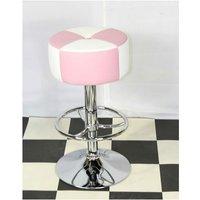 Netfurniture - Morani American Diner Retro Style Kitchen Bar Stool Pink And White Padded Seat