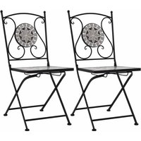 vidaXL Mosaic Bistro Chairs 2 pcs Grey - Grey