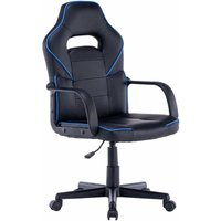 Moscow Black Office Chair with Armrests and Adjustable Seat Height (Blue) - LUXURY LIFE