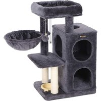 FEANDREA Multi-Level Cat Tree with Feeder Bowl, Sisal-Covered Scratching Posts, Dual Condo, Activity Centre Playhouse Cat Tower Furniture, Smoky Grey