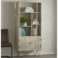 Verty Furniture - Multi shelf bookcase with Doors Dallas Light Mango - Light Wood