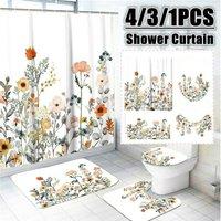 Multicolor Flower Waterproof Shower Curtain Toilet Cover Pedestal Set (Shower Curtain)