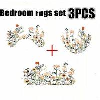 Multicolor Flowers Waterproof Shower Curtain Toilet Cover Pedestal Set (Bath Mat Set)