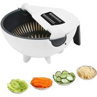 Multifunction Stainless Steel 7 in 1 Vegetable Cutter Apple Slicer Salad Shredder with Drain Basket Kitchen Tool for Carrots, Potatoes