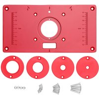 Multifunctional Router Table Aluminum Alloy Insert Plate Woodworking Benches 235x120x8mm Carpenter Trimming Machine Flip Chip Board,model:Red