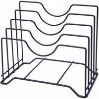 Multilayer storage holder for cutting board and lid, kitchen table multifunction holder, lid holder, black