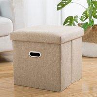 Multipurpose Foot Stool Footrest Foldable Fabric Storage Stool Bench 31x31x31cm Beige