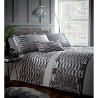 Murray Stone Grey Double Duvet Cover Set Bedding Crushed Velvet Quilt Bed Set - BEDMAKER