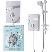 MX 9.5kw Thermo Response QI Thermostatic Electric Shower White Chrome LED
