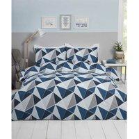 Rapport - MyHome Triangular Geometric Patterened Bedding Set Leo Navy Single Duvet Cover Set