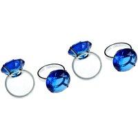 Napkin Rings,Set of 4,Sapphire Diamante/Chrome Finish