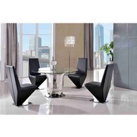 Naples Dining Table and 4 Rita Black Chairs