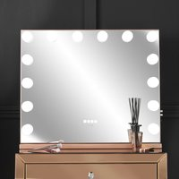 Natalia Desktop Mirror with Hollywood Dimmable LED Bulbs 3 Colours Touch Sensor Bluetooth Speaker USB Charger Built In Socket Frameless Rosegold