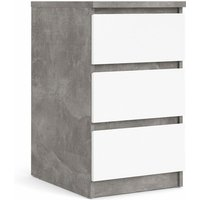 Nati Bedside - 3 Drawers In Concrete White High Gloss