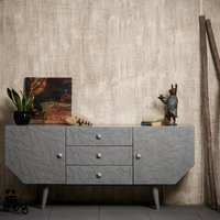 Relaxdays - Native Home Cave Sideboard, Modern Dresser with Doors and Drawers, Cabinet, HxWxD: 85 x 160 x 45 cm, Grey