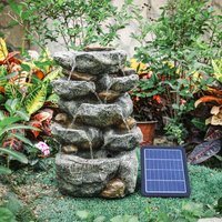 Natural Slate Garden Water Feature Outdoor LED Fountain Waterfall Solar Powered